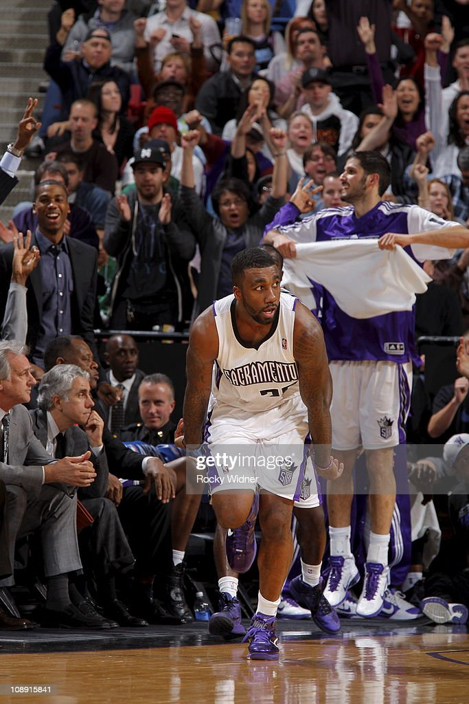 Donte Greene #20 of the Sacramento Kings reacts after hitting a three point basket against the Boston Celtics on February 1, 2011 at ARCO Arena in Sacramento, California.