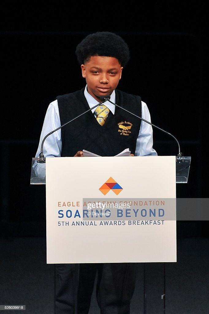 Donte Jones speaks onstage during the 2016 Eagle Academy Foundation Fundraising Breakfast at Gotham Hall on April 29, 2016 in New York City.