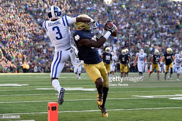 Donte Vaughn of the Notre Dame Fighting Irish intercepts a pass intended for TJ Rahming of the Duke Blue Devils during the second half of a game at...
