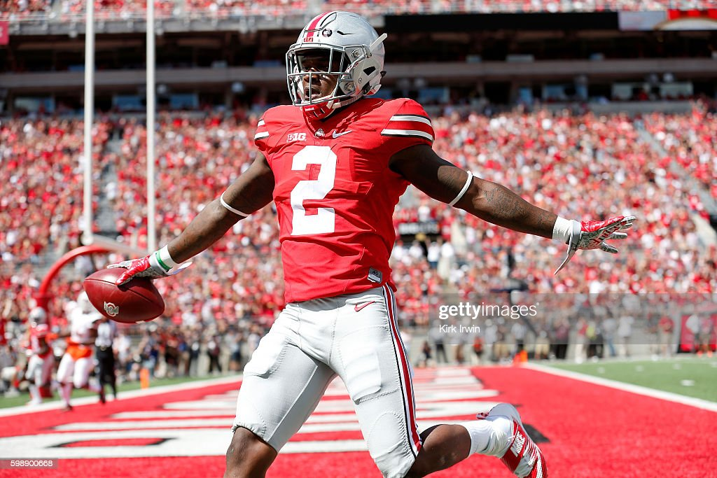 Dontre Wilson #2 of the Ohio State Buckeyes celebrates after scoring a touchdown during the first quarter of the game against the Bowling Green Falcons on September 3, 2016 at Ohio Stadium in Columbus, Ohio.