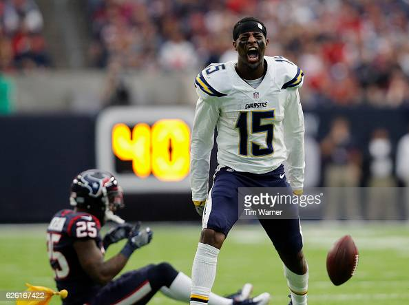 Dontrelle Inman of the San Diego Chargers reacts after an unnessessary roughness penalty by Kareem Jackson of the Houston Texans in the fourth...