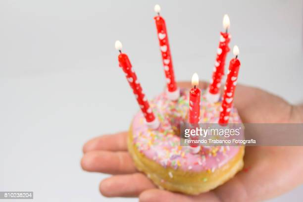 Donut with birthday candles