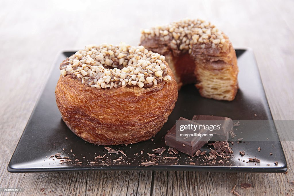 donut-cronut with chocolate : Stockfoto