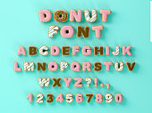 Donuts decorative font glazed sweet letters and numbers. Cute design. 3 D illustration