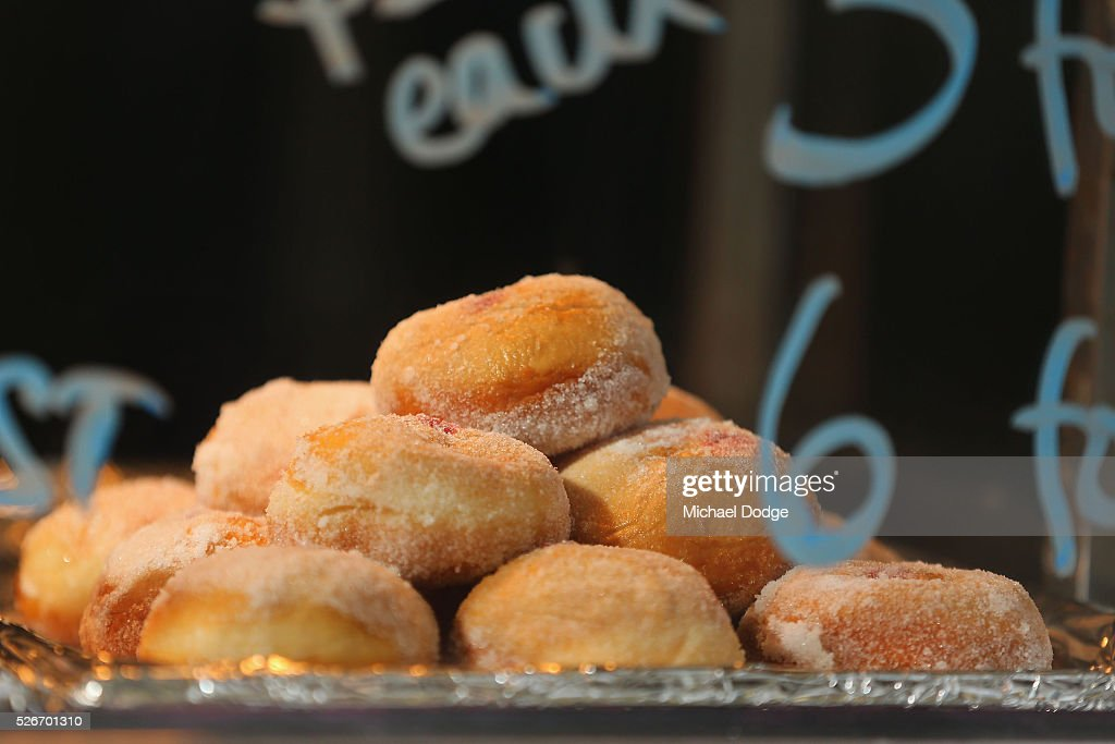 Donuts from a food van are seen during the round six AFL match between the Carlton Blues and the Essendon Bombers at Melbourne Cricket Ground on May 1, 2016 in Melbourne, Australia.