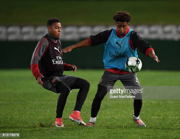 Donyell Malen and Reiss Nelson of Arsenal during a training session at the Koraragh Oval on July 12 2017 in Sydney New South Wales