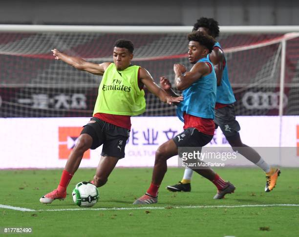 Donyell Malen and Reiss Nelson of Arsenal during a training session at the Shanghai Stadium on July 18 2017 in Shanghai China