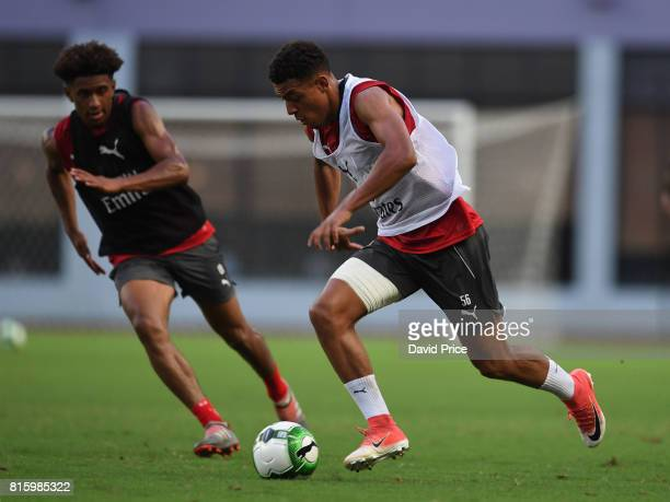 Donyell Malen and Reiss Nelson of Arsenal during an Arsenal Training Session at Yuanshen Sports Centre Stadium on July 17 2017 in Shanghai China