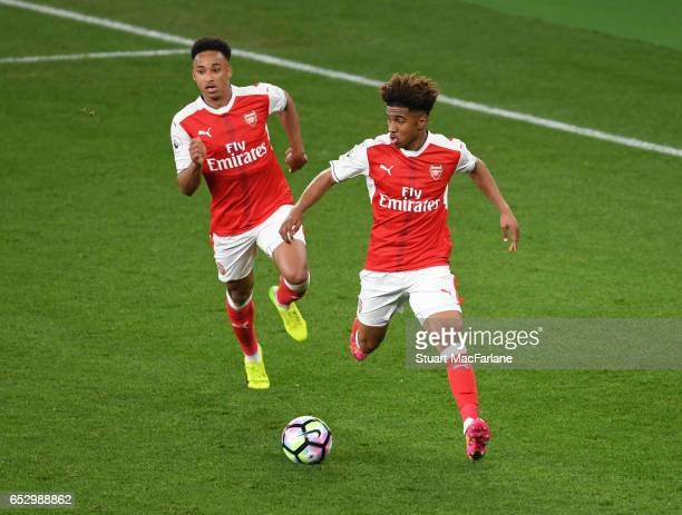 Donyell Malen and Reiss Nelson of Arsenal during the Premier League 2 match between Arsenal and Manchester City at Emirates Stadium on March 13 2017...