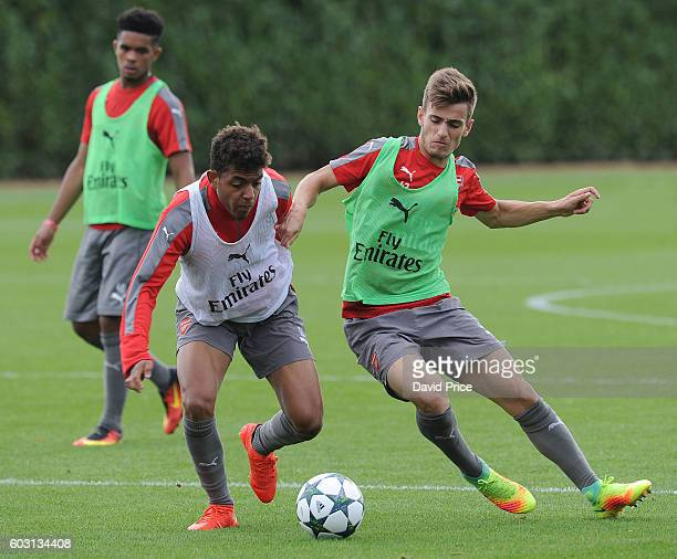 Donyell Malen and Vlad Dragomir of Arsenal during the Arsenal UEFA Youth League Training Session at London Colney on September 12 2016 in St Albans...