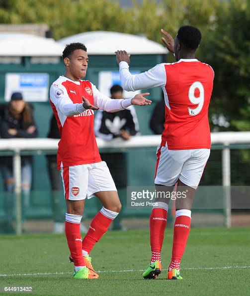 Donyell Malen celebrates scoring Arsenal's 2nd goal with Danny Welbeck during the match between Arsenal U23 and Chelsea U23 at London Colney on...