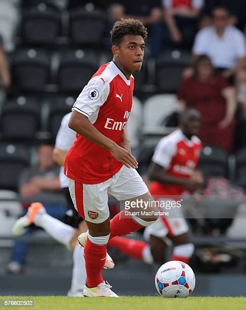 Donyell Malen of Arsenal during a pre season friendly between Borehamwood and Arsenal at Meadow Park on July 16 2016 in Borehamwood England