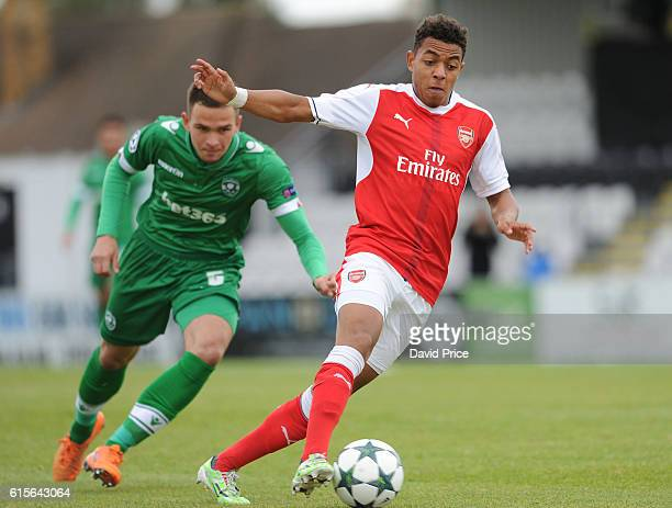 Donyell Malen of Arsenal during the match between Arsenal and Ludogorets Razgrad in the UEFA Youth League at Meadow Park on October 19 2016 in...