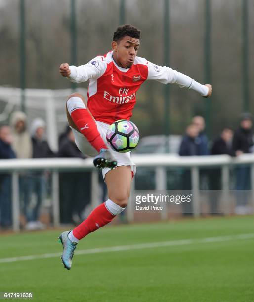 Donyell Malen of Arsenal during the match between Arsenal U23 and Tottenham Hotspur U23 at London Colney on March 3 2017 in St Albans England