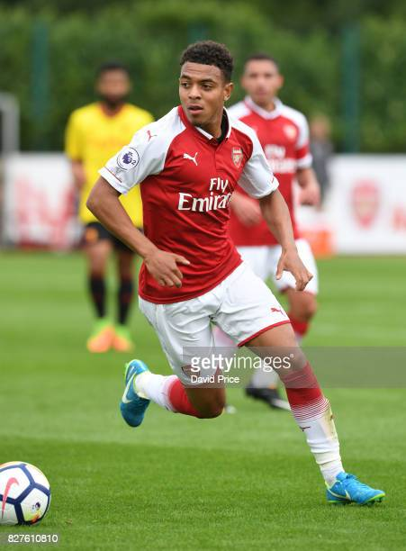 Donyell Malen of Arsenal during the match between Arsenal U23 and Watford U23 at London Colney on August 8 2017 in St Albans England