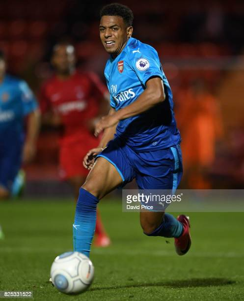 Donyell Malen of Arsenal during the match between Leyton Orient and Arsenal U23 at Brisbane Road on August 1 2017 in London England