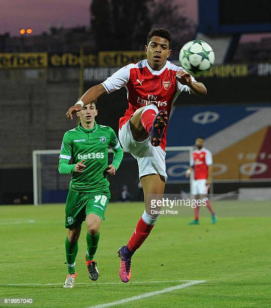 Donyell Malen of Arsenal during the match between PFC Ludogorets Ragrad and Arsenal in the UEFA Youth League at Georgi Asparuhov Stadium on November...