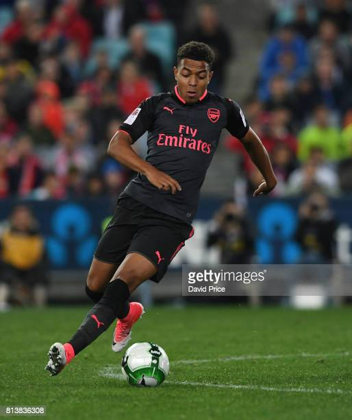 Donyell Malen of Arsenal during the match between Sydney FC and Arsenal at ANZ Stadium on July 13 2017 in Sydney Australia