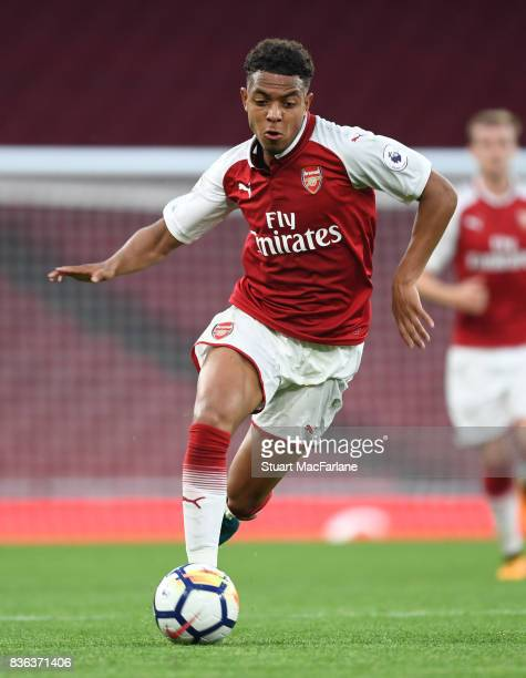 Donyell Malen of Arsenal during the Premier League 2 match between Arsenal and Manchester City at Emirates Stadium on August 21 2017 in London England