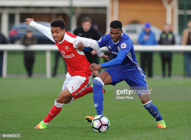 Donyell Malen of Arsenal is challenged by Dujon Sterling of Chelsea during the match between Arsenal U23 and Chelsea U23 at London Colney on February...