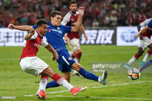 Donyell Malen of Arsenal takes a shot against Andreas Christensen of Chelsea during the PreSeason Friendly match between Arsenal FC and Chelsea FC at...