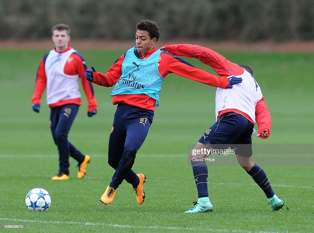 Donyell Malen of Arsenal the U19 team during their training session at London Colney on February 8, 2016 in St Albans, England.