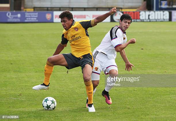 Donyell Malen of Arsenal U19s during UEFA Youth League match between Arsenal Under 19s and FC Basel Under 19s at Boreham Wood Football Club on 28th...