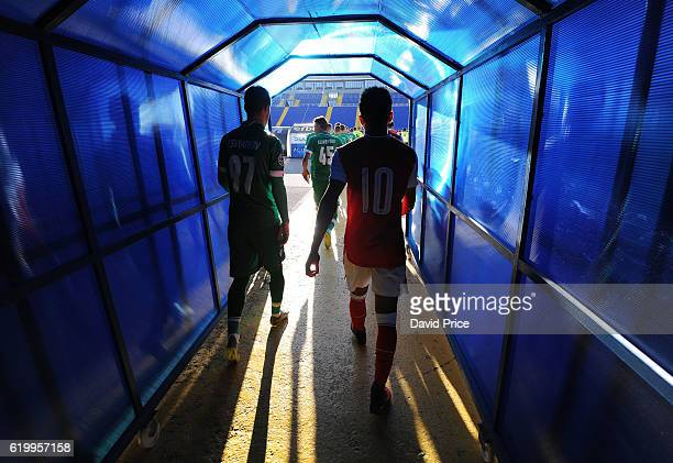 Donyell Malen of Arsenal walks out of the tunnel before the match between PFC Ludogorets Ragrad and Arsenal in the UEFA Youth League at Georgi...