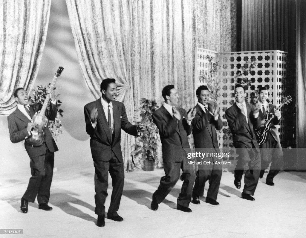 Doo Wop Group 'The Flamingos' perform in a scene from the movie Go, Johnny, Go!' released in June, 1959.