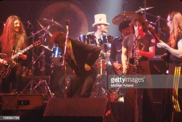 Doobie Brothers perform on stage at the Palladium New York 16th November 1978 LR Patrick Simmonsunknown John HartmanTiran Porterunknown Jeff Skunk...