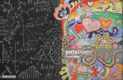 Doodles on a blackboard : Stock Photo