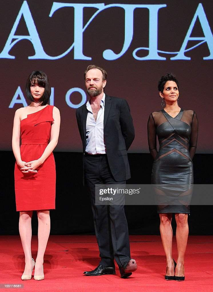 Doona Bae, Hugo Weaving and Halle Berry attend the premiere of Warner Bros. Pictures' 'Cloud Atlas' in Oktyabr cinema hall on November 1, 2012 in Moscow, Russia.