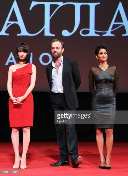 Doona Bae Hugo Weaving and Halle Berry attend the premiere of Warner Bros Pictures' 'Cloud Atlas' in Oktyabr cinema hall on November 1 2012 in Moscow...