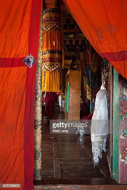 Door detail of Diskit gompa in Nubra valley Ladakh Jammu and Kashmir India