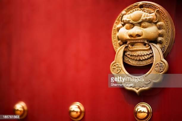 Door handle on Red Temple Door