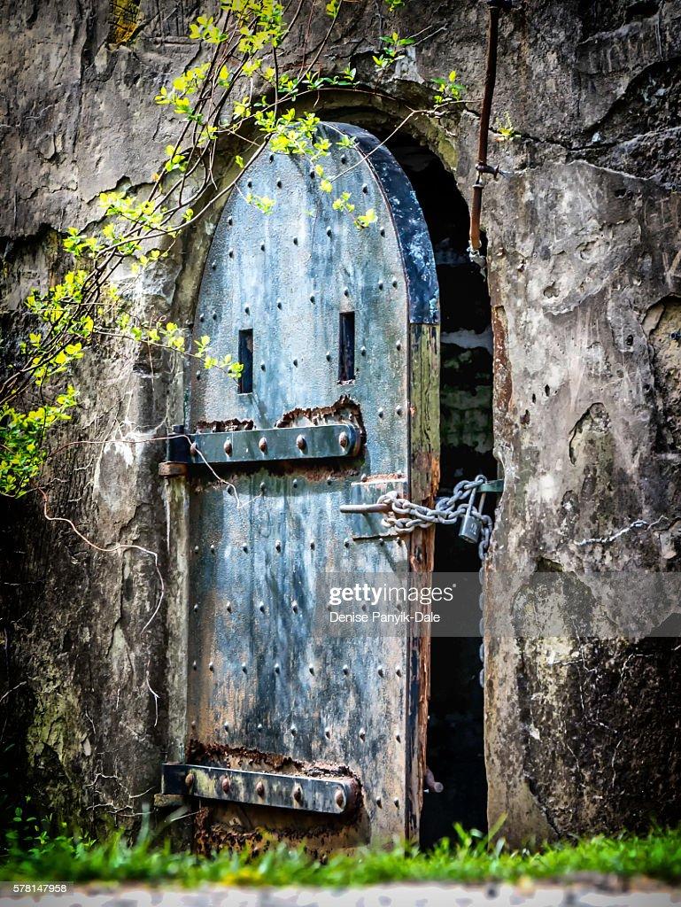 Door in wall at Fort Hancock in Sandy Hook, New Jersey