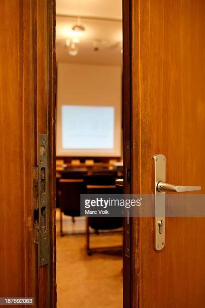 A door opening into a room