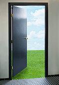 Door opening onto green lawn