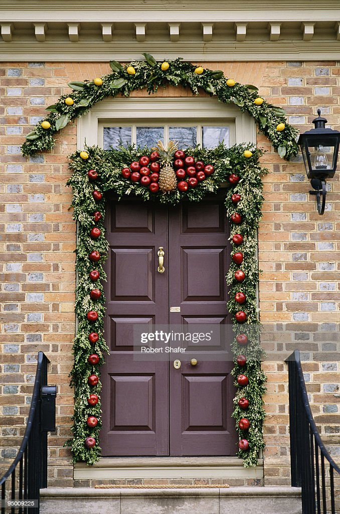 Door with holiday decorations : Stock Photo