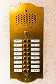 Doorbell button panel and intercom