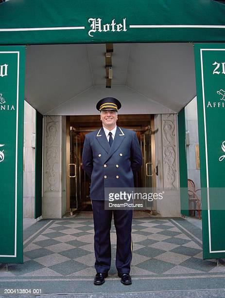 Doorman standing outside hotel