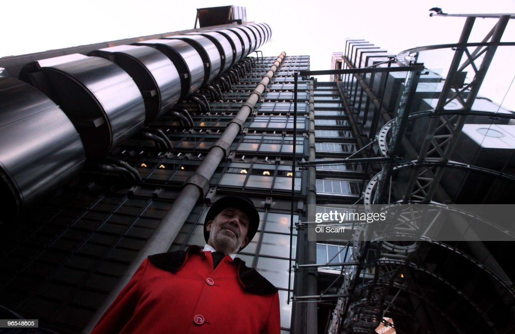 A doorman stands in front of the Lloyd's of London building in the financial district on February 9 2010 in London England As the UK gears up for one...