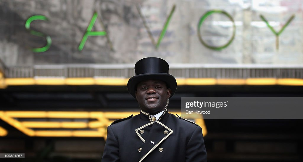 A Doorman stands outside the famous Savoy hotel on February 17, 2011 in London, England.