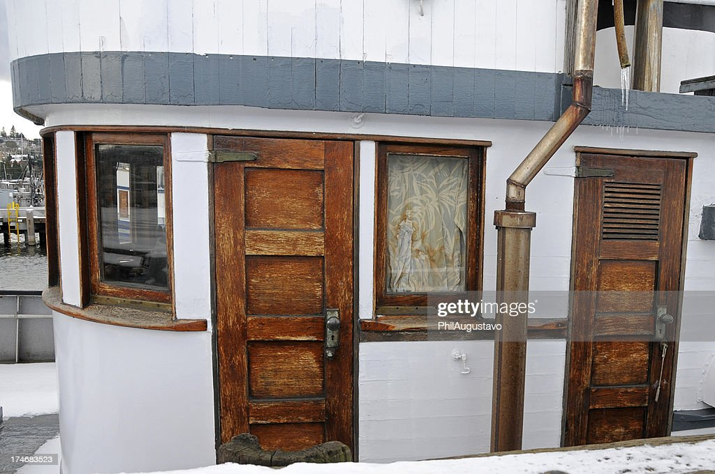 Doors to fishing boat cabin stock photo getty images for Boat cabin entry doors