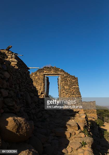 Doorway in a traditional Argoba stone houses village on January 12 2017 in Koremi Ethiopia