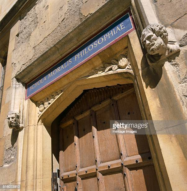 Doorway of the Bodleian Library Oxford Oxfordshire c2000s View of the doorway of the library with the inscription Schola Moralis Philosophiae...