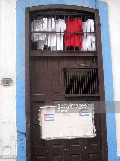Doorway with laundry, Havana, Cuba