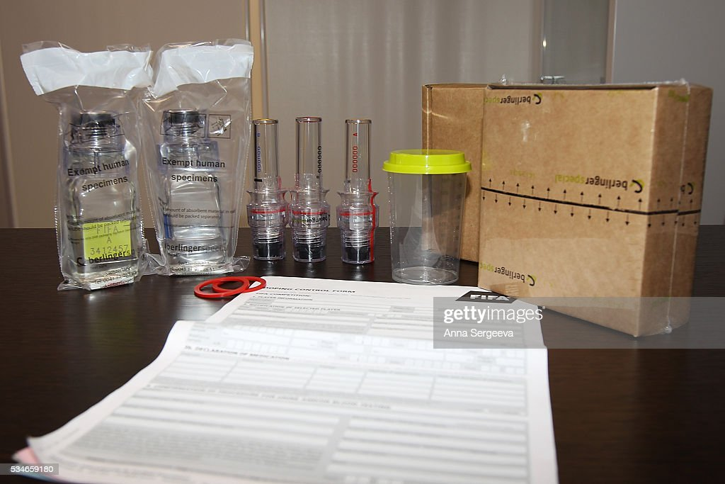 FIFA doping-control set demonstrates during the Football Emergency Workshop at Spartak Stadium on May 27, 2016 in Moscow, Russia.