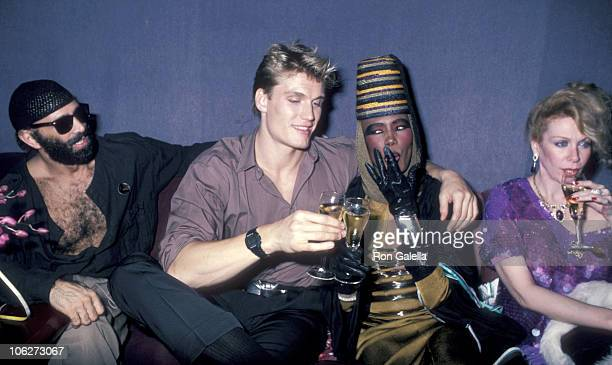 Doplh Lundgren Grace Jones and guests during Grace Jones' New Year's Eve Performance December 31 1985 at Visage Club in New York City New York United...