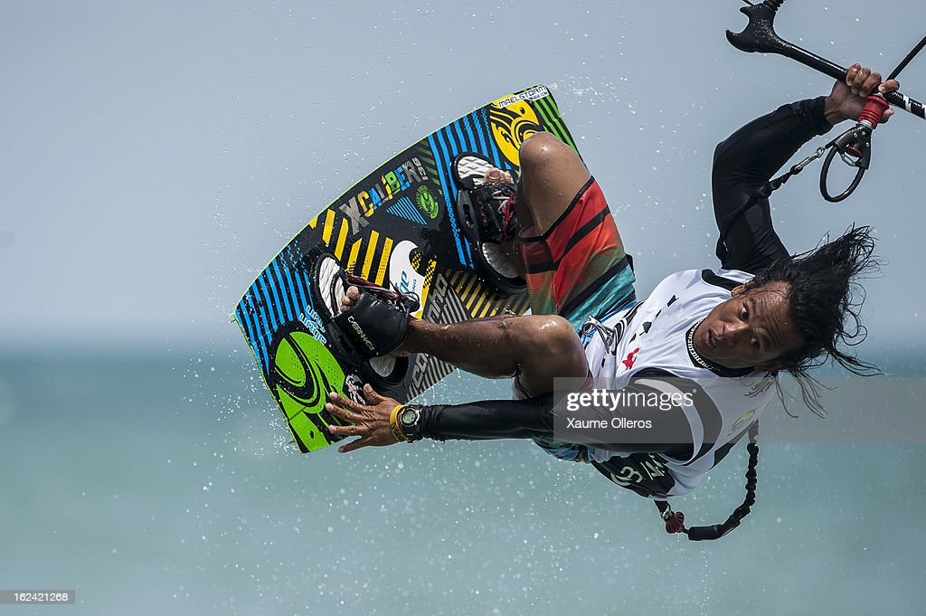 Doque de los Santos of Philippines freestyles during day three of the 1st KTA Bintan at Argo Beach Resort on February 23, 2013 in Bintan Island, Indonesia.